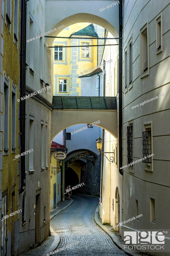 Stock Photo: Narrow alleyway with flying buttresses, Innbrückgasse street, historic centre, Passau, Lower Bavaria, Bavaria, Germany.