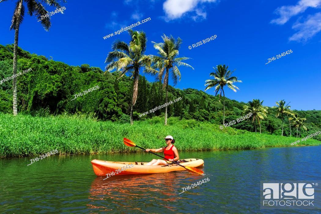 Kayaking on the Hanalei River, Hanalei, Kauai, Hawaii, Stock