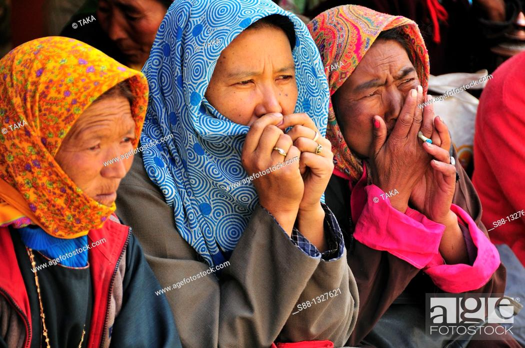 Stock Photo: Face when they saw Living God Rimpoche. Jammu and Kashmir, India. Jammu and Kashmir, India.