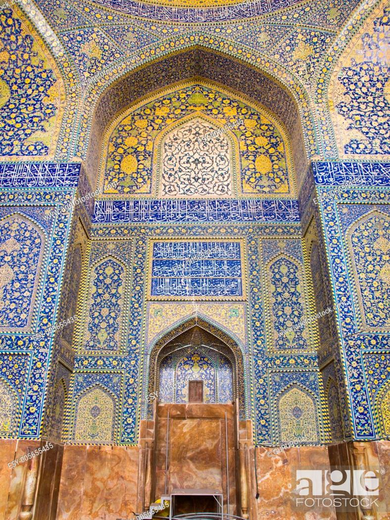 Stock Photo: tiled background, oriental ornaments from Isfahan Mosque, Iran.
