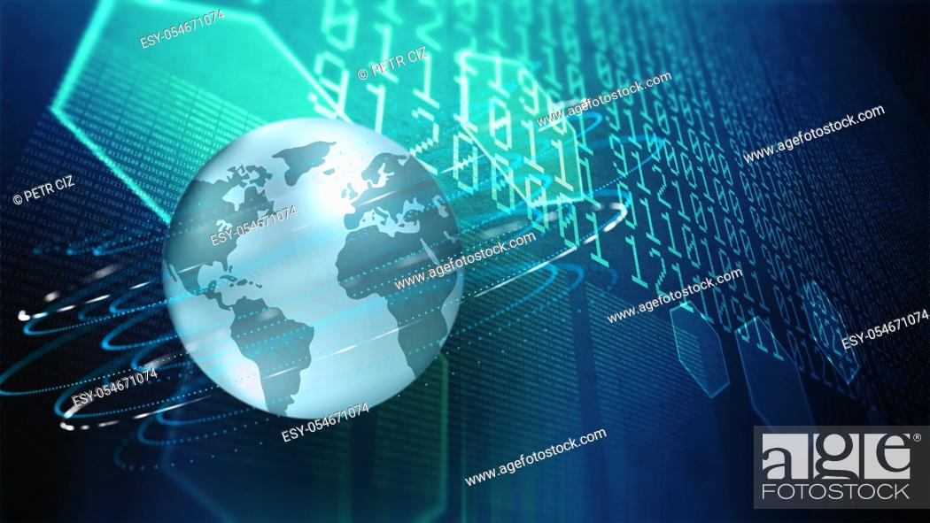 Stock Photo: Modern research and information technologies in cyberspace.