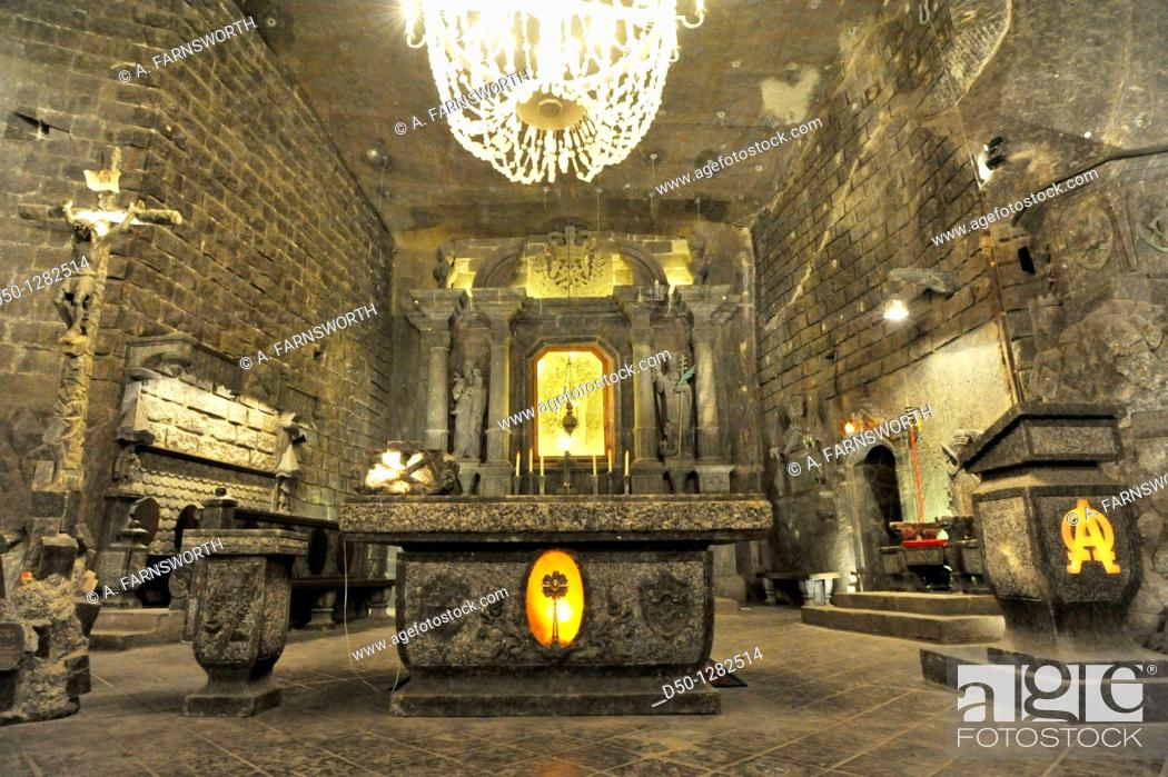 Stock Photo: Chapel and altar where everyhting including the chandlier is made of salt in the Wieliczka Salt Mine (a UNESCO World Heritage site), Krakow, Poland.