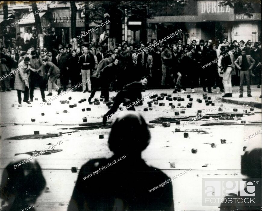 Stock Photo: May 05, 1968 - Rioting Student Clash with Police in Paris Tear gas and hoses were used during yesterday's clash with French students and French riot Police.