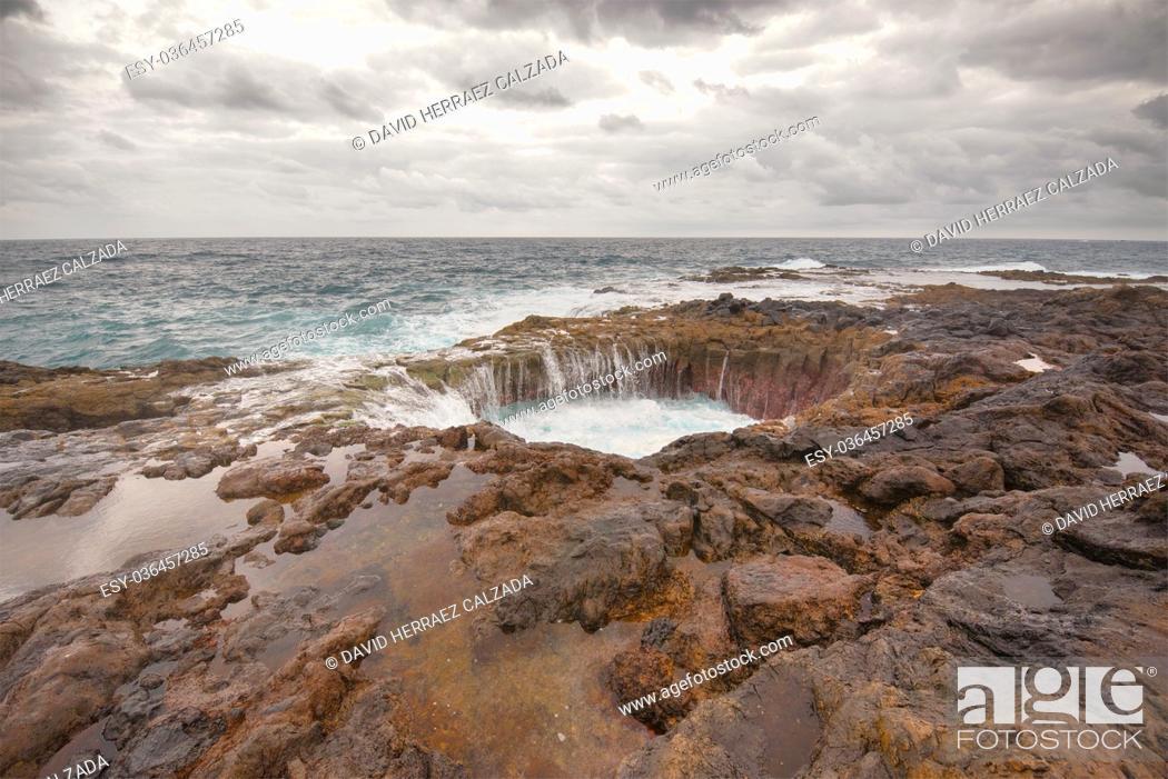 Stock Photo: Blowhole, Bufadero de la Garita in Telde, Gran Canaria, Canary island, Spain.