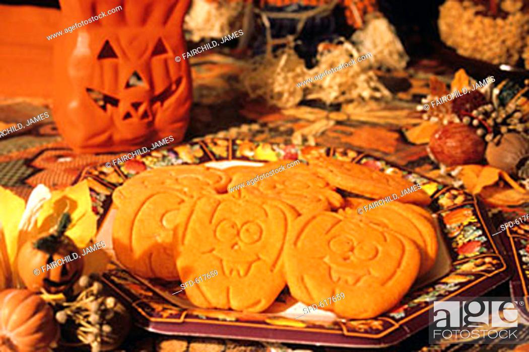 Stock Photo: Jack O'lantern Cookies for Halloween.