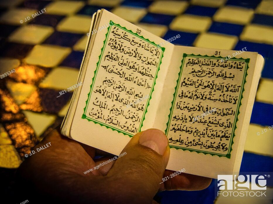 "Stock Photo: Morocco, Fes, religious pocket book to protect against ""evil eye"", ..."