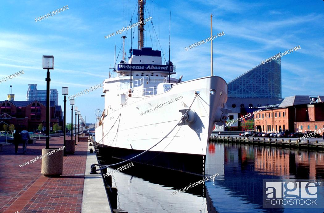 Stock Photo: Baltimore Maritime Museum, warship, Maryland, Inner Harbor, Baltimore, Coast Guard cutter Taney at Pier 3.