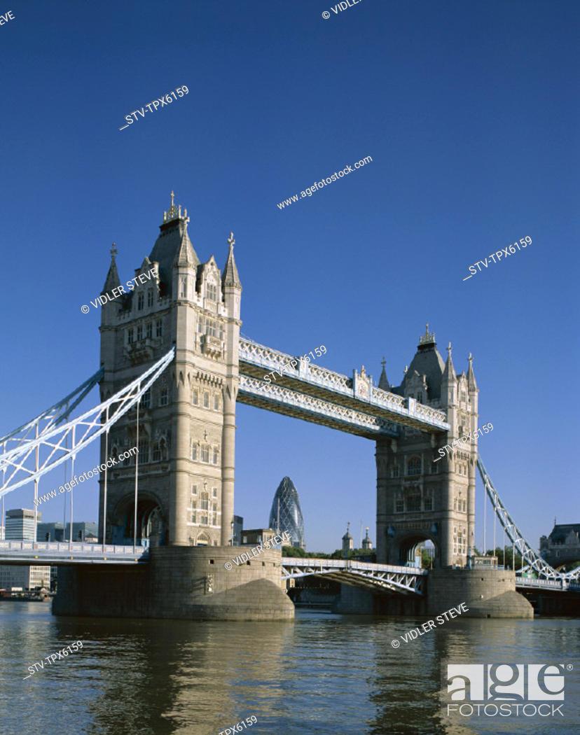 Stock Photo: England, United Kingdom, Great Britain, Holiday, Landmark, London, Thames river, Tourism, Tower bridge, Travel, Vacation,.