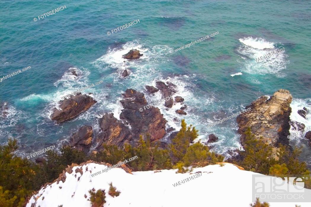 Stock Photo: view, wave, scene, seascape, foam, sky.