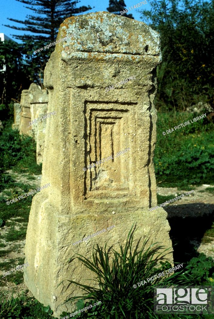 Stock Photo: Tunisia - Carthage, archaeological site (UNESCO World Heritage List, 1979). Phoenician-punic tophet (sanctuary) of Baal Hammon and Tanit. Stele.