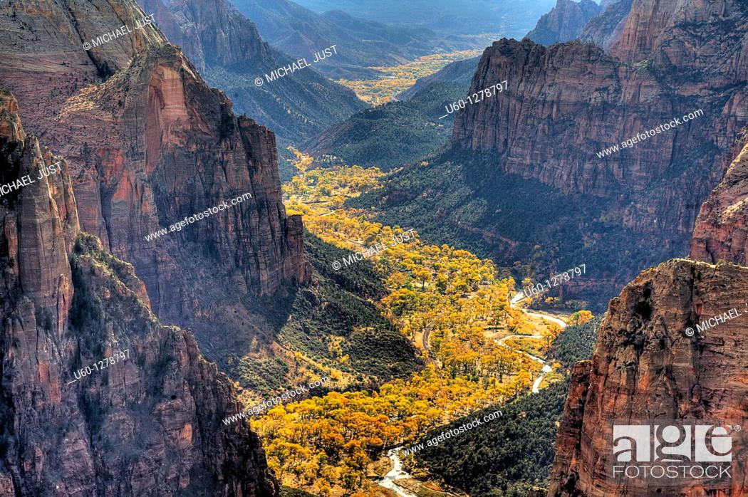 Stock Photo: Zion Canyon during autumn from Observation Point at Zion National Park, Utah.