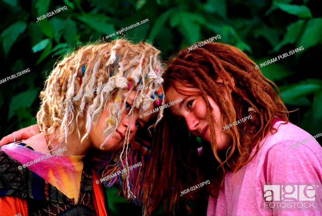 Stock Photo: Two young girls with dread locked hair.