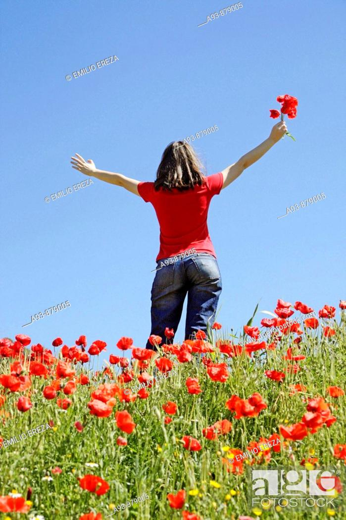 Stock Photo: Girl and poppies.