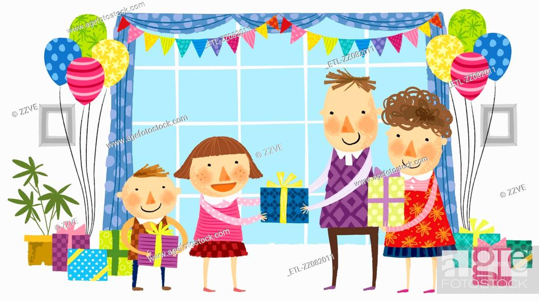 Stock Photo: parents giving gifts to children.