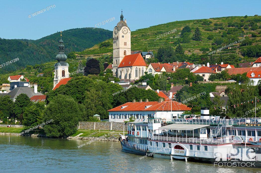 Stock Photo: Austria, Lower Austria, A-Krems an der Donau, Danube, Wachau, Waldviertel, A-Krems-Stein, A-Stein an der Donau, city view, catholic parish church Saint Nicholas.
