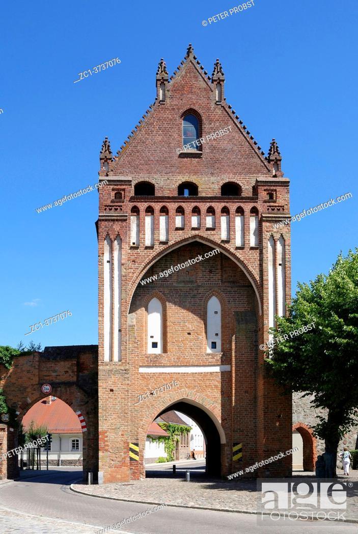 Stock Photo: Gate Ruppiner Tor in Gransee - landmark of the city of Brandenburg - Germany.