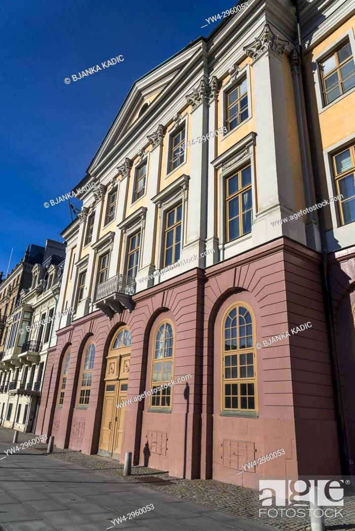 Stock Photo: Beautiful houses line Strömgatan street in the district of Norrmalm, Stockholm, Sweden.