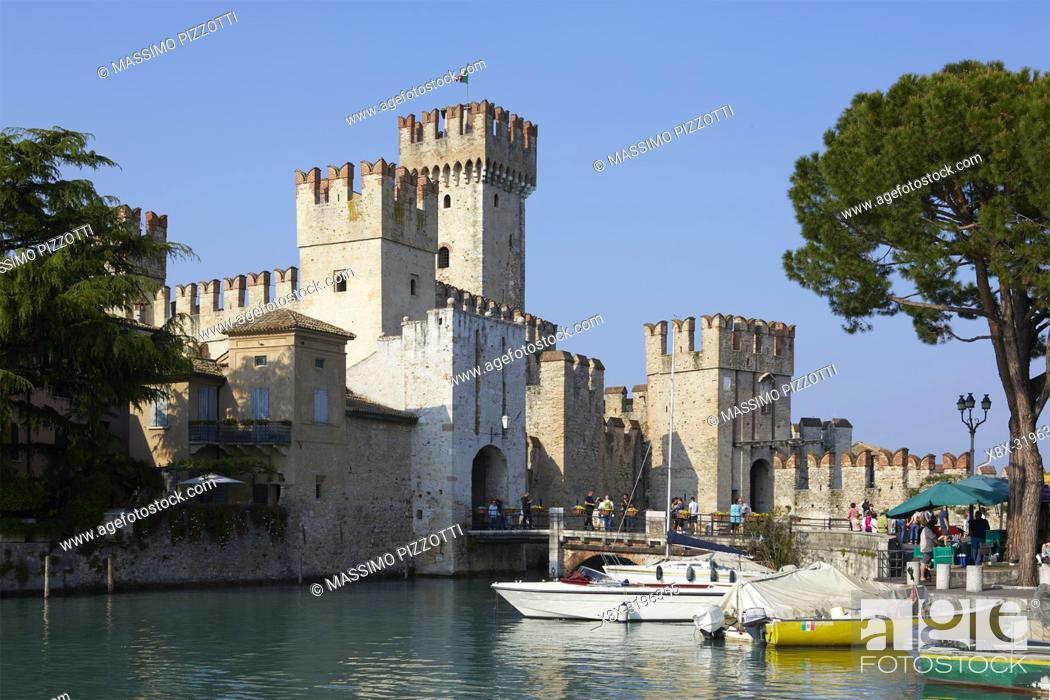Stock Photo: The scaliger castle of Sirmione, Brescia province, Italy.