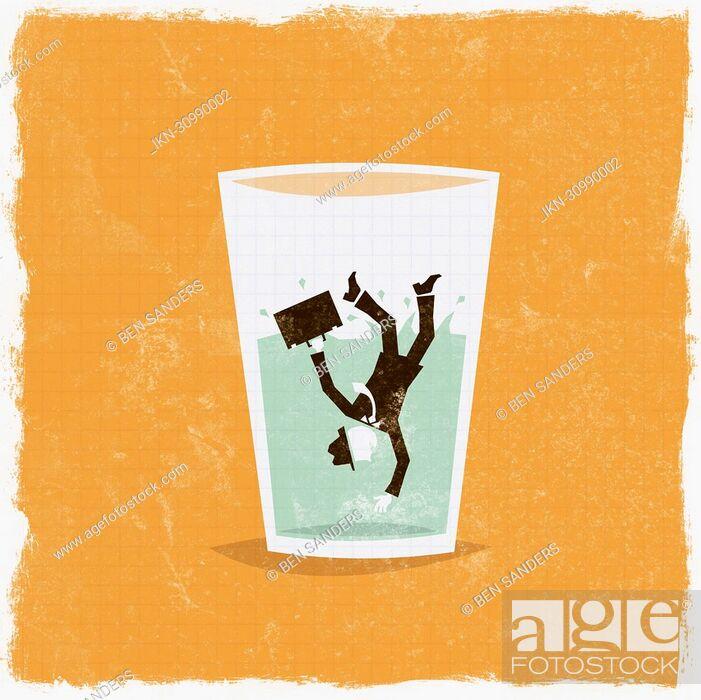 Imagen: Businessman falling in glass of water.