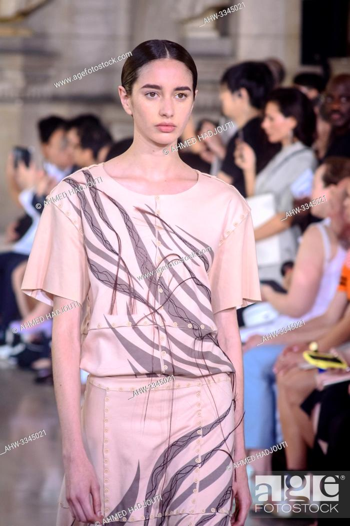 Stock Photo: PARIS, FRANCE - June 30 : A model walks the runway during the Yuima Nakazato Show during the Paris Fashion Week Haute Couture Fall Winter 2019/2020 on June 30.
