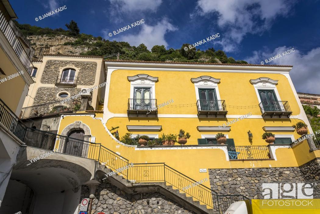 Stock Photo: Positano, a cliffside village, Typical brightly painted house, Amalfi coast, Italy.