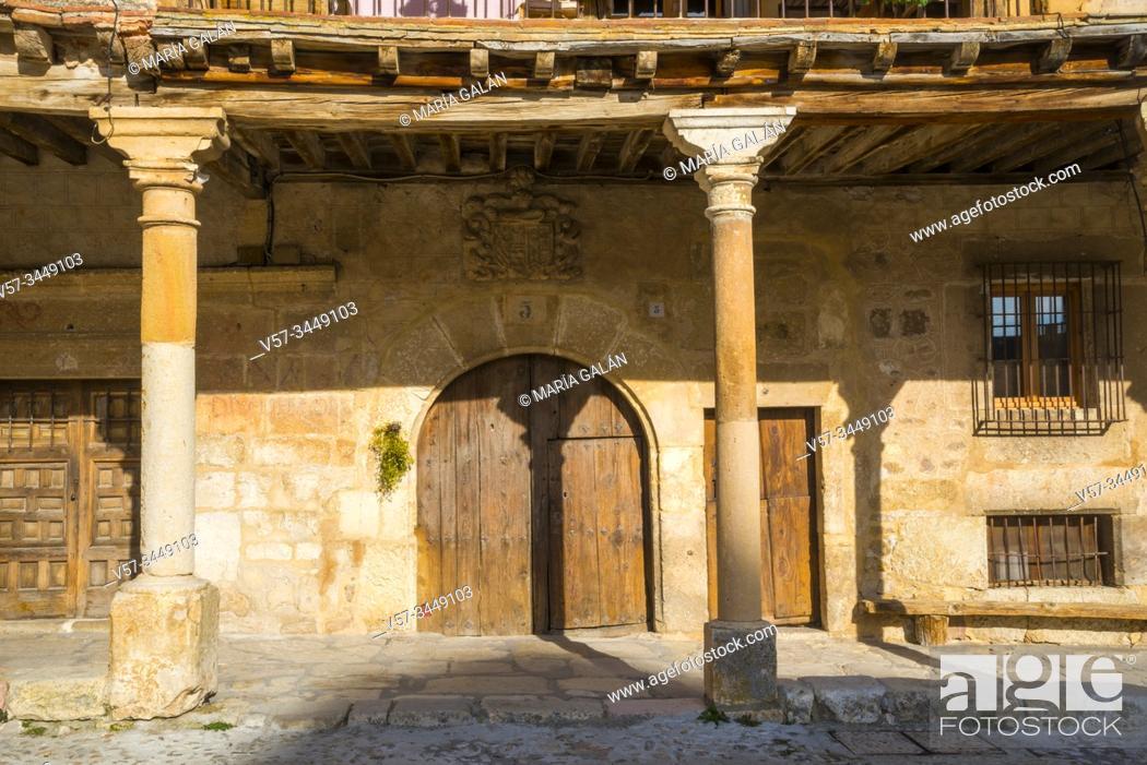 Stock Photo: Facade of house. Pedraza, Segovia province, Castilla Leon, Spain.