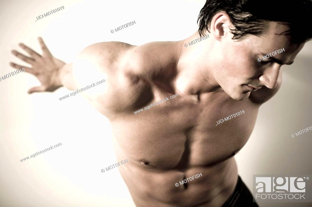 Stock Photo: High angle view of bare-chested man.