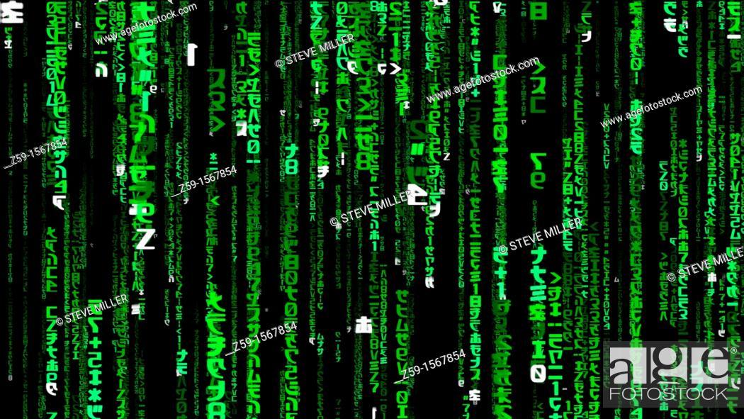 digital enhancement - matrix digital rain or falling green code