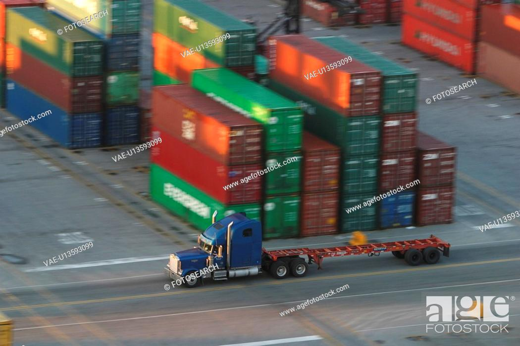 Stock Photo: port, harbor, industry, cargo, storage, containers.