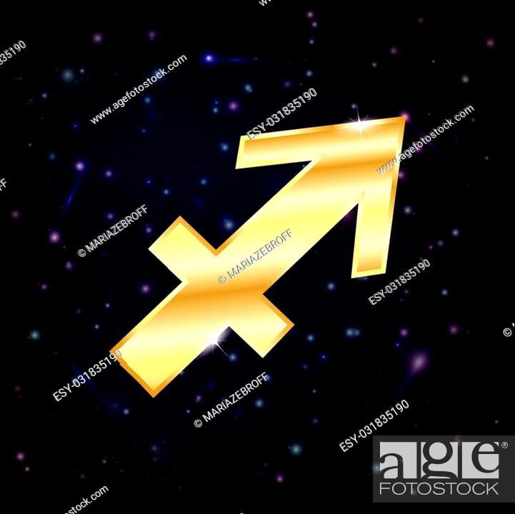 Vector: Golden Sagittarius zodiac sign on a sky background with stars.