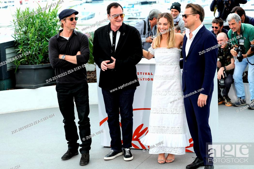 Stock Photo: May 22, 2019 - Cannes, France - CANNES - MAY 22:  Brad Pitt, Leonardo DiCaprio, Quentin Tarantino and Margot Robbie on the ONCE UPON A TIME..