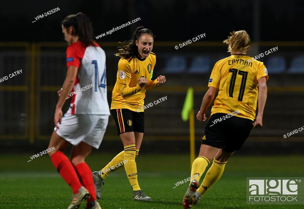 Stock Photo: Belgium's Tessa Wullaert celebrates after scoring during a soccer game between Croatia and Belgium's Red Flames, Friday 08 November 2019 in Zapresic, Croatia.