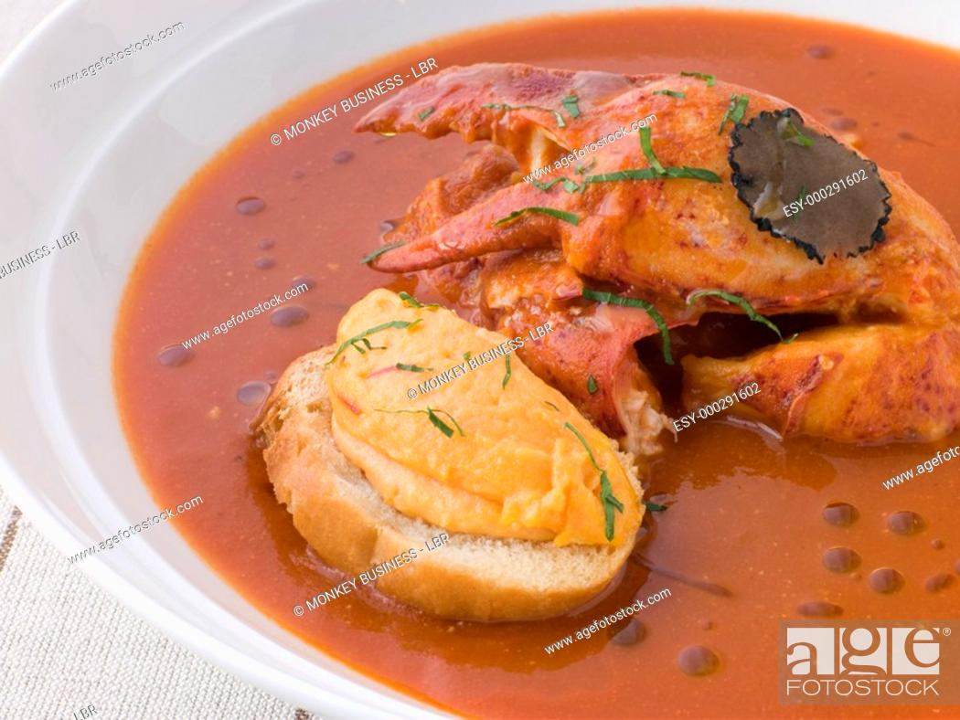 Stock Photo: Bowl of Lobster Bisque Rouille Croute and Sliced Truffle.