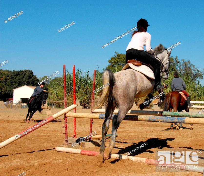 Stock Photo: jumping grey horse.