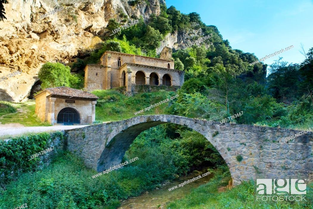 Stock Photo: Romanesque hermitage of Santa María de la Hoz, in Tobera, Frías, in the Merindades county, Burgos.