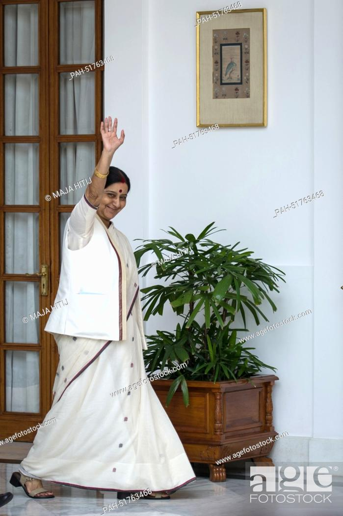 Stock Photo: Indian Foreign Minister Sushma Swaraj waves before a meeting with German Foreign Minister Frank-Walter Steinmeier (SPD) in New Delhi, India, 08 September 2014.