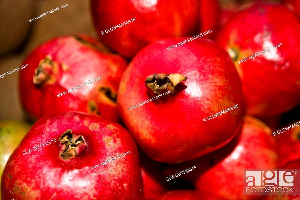 Stock Photo: Close-up of pomegranates, Tlacolula De Matamoros, Oaxaca State, Mexico.