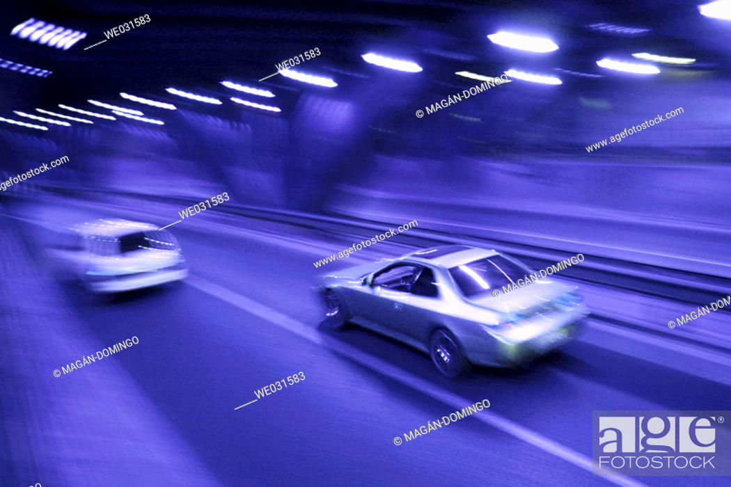Stock Photo: Overtaking in a tunnel.