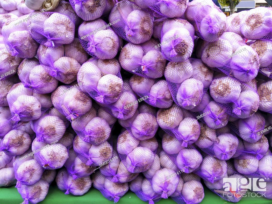 Stock Photo: Garlic for sale.