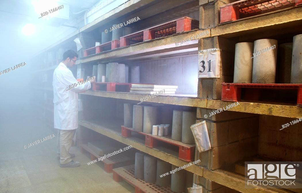 Stock Photo: Climatic chamber, humidity and temperature maintenance for concrete specimens cured, Research on building materials, Tecnalia Research & Innovation, Zamudio.