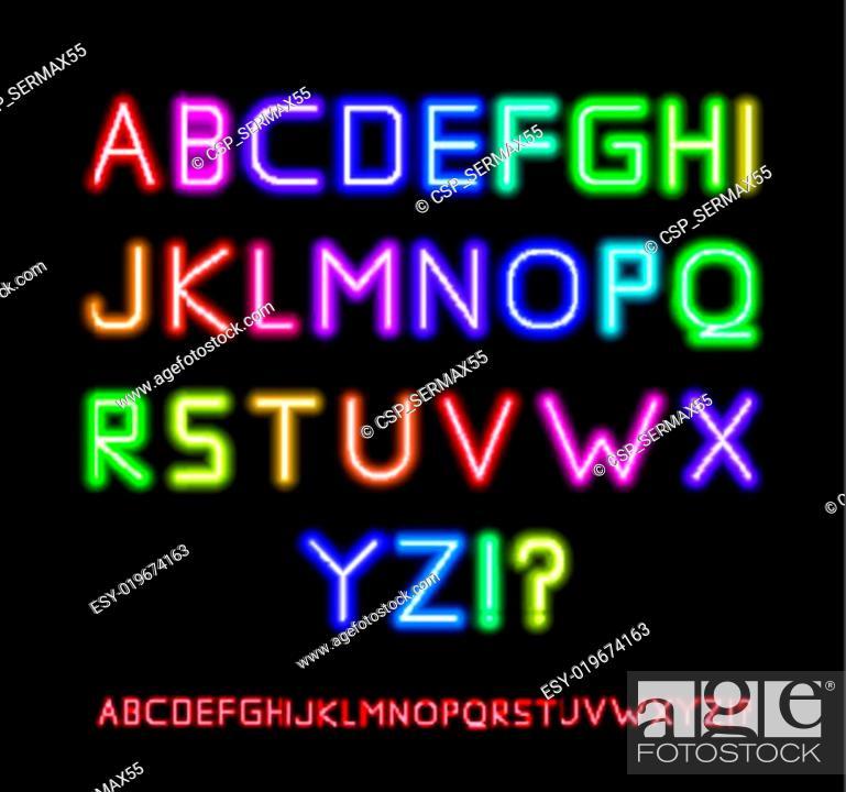Stock Vector: Neon Font.