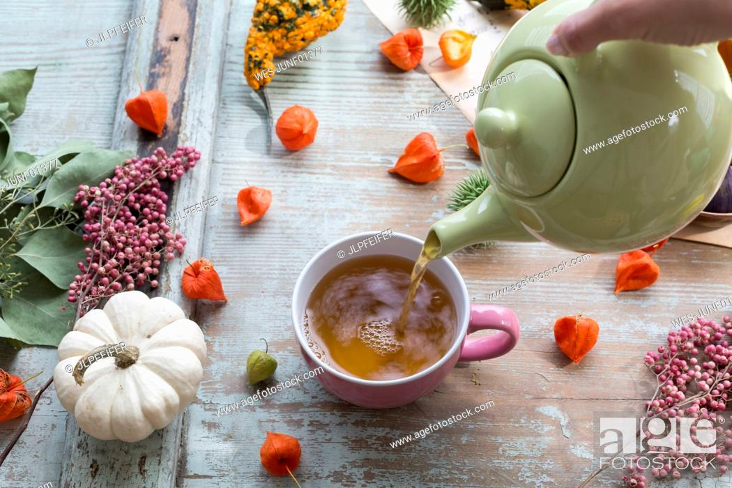 Stock Photo: Woman's hand pouring tea in a cup.