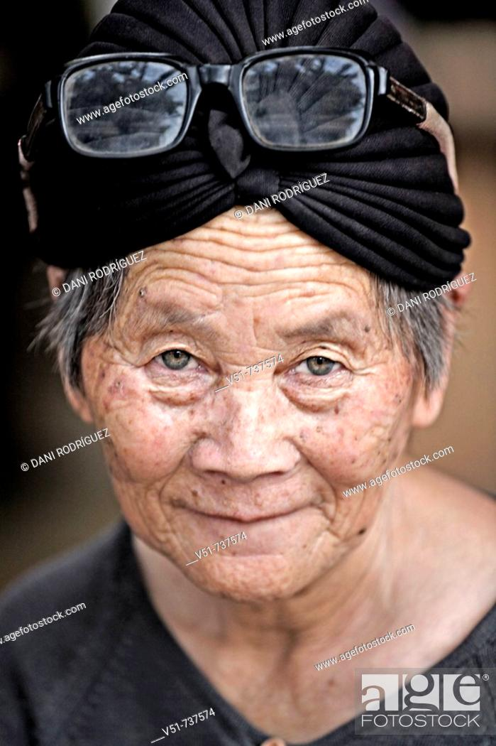 Stock Photo: Portrait of an old woman in Laos.