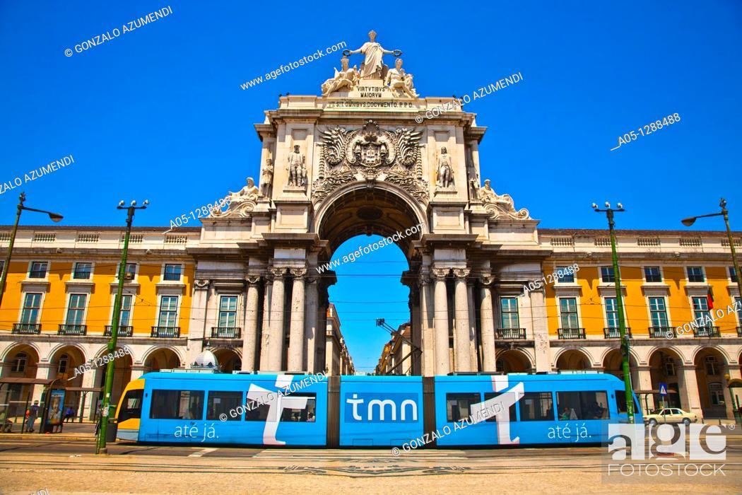 Stock Photo: Electric tramway, Rua Augusta, Triumphal Arch of Praça do Comércio (Commerce square), Lisbon, Portugal.