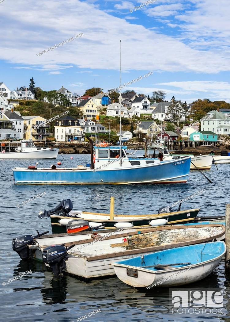 Stock Photo: Quaint fishing village, Stonington, Deer Isle, Maine, USA.