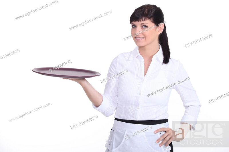 Stock Photo: Young waitress on white background.