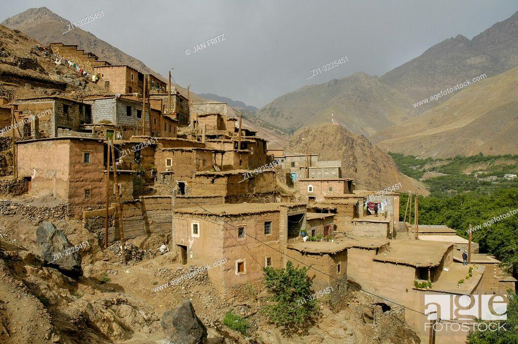 Stock Photo: village in High Atlas in Maroc.