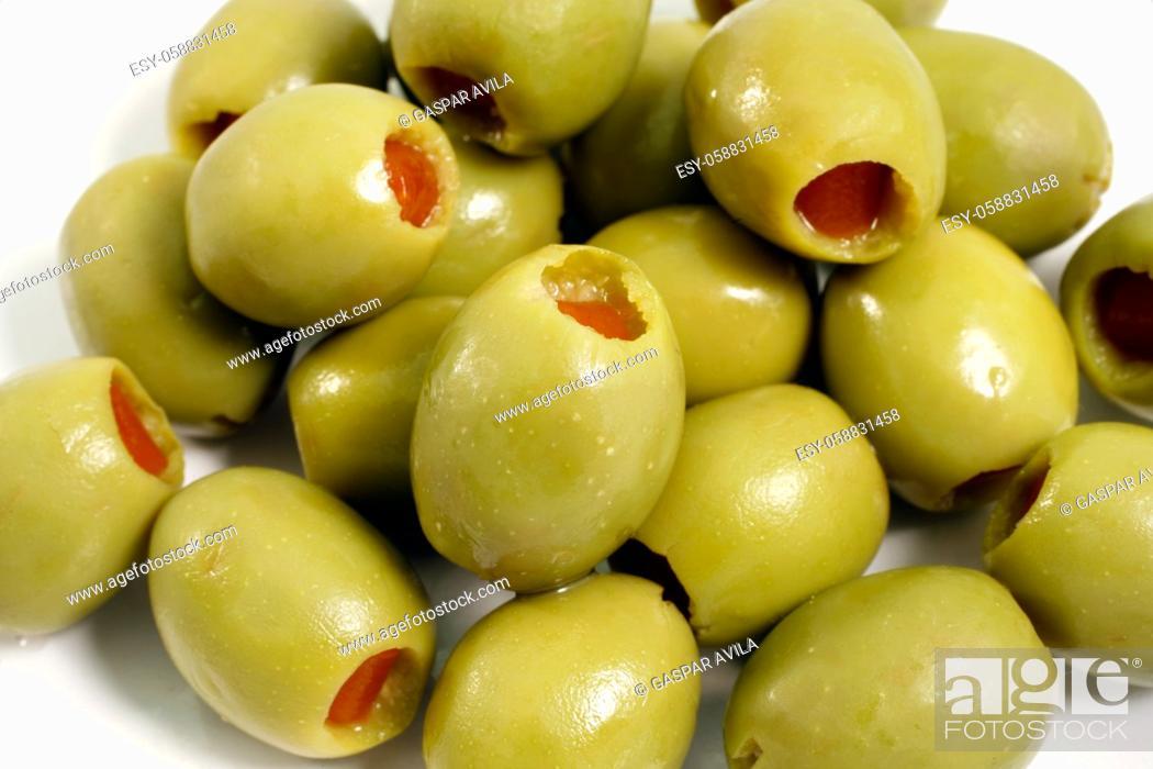 Stock Photo: Closeup of stuffed green olives.