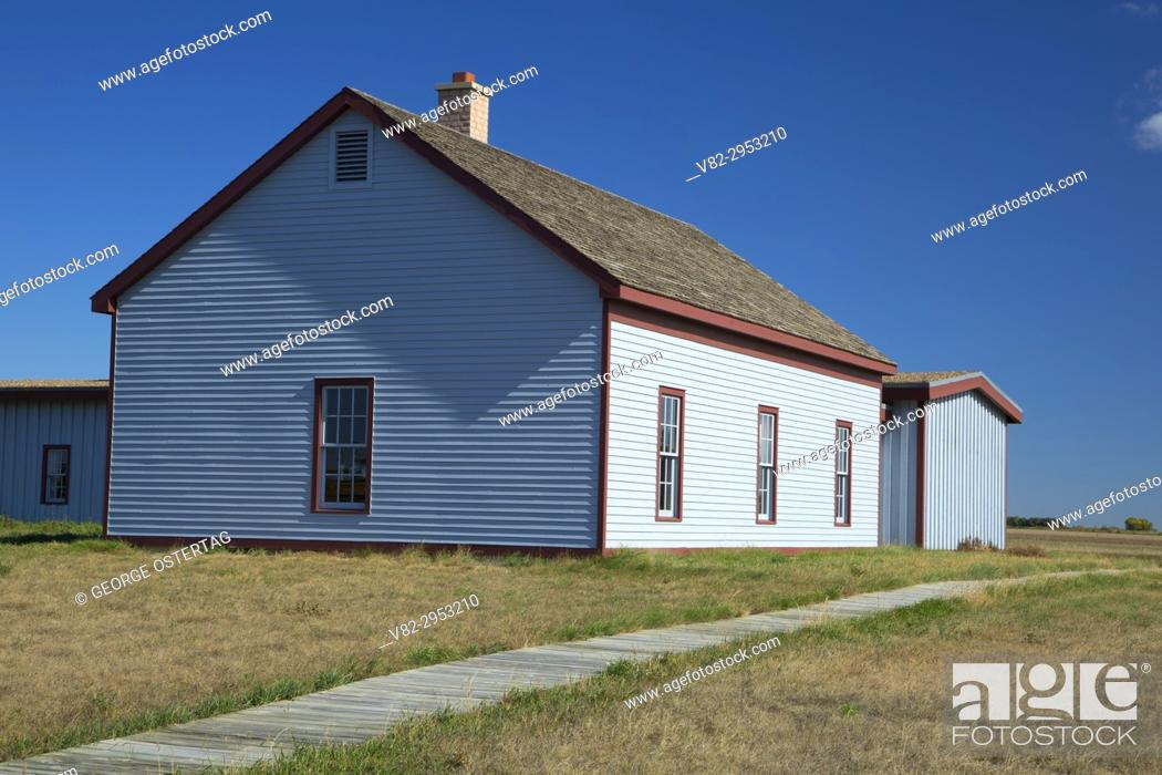 Stock Photo: Infantry Barracks, Fort Buford State Historic Site, North Dakota.