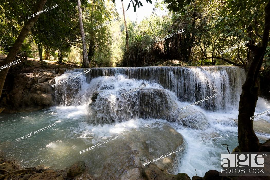 Stock Photo: water of Kuang Si waterfall, Luang Prabang. Laos.